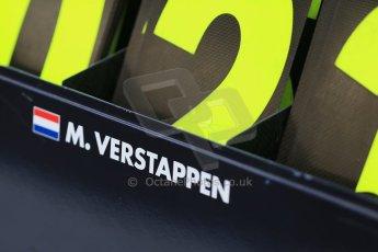 World © Octane Photographic Ltd. Wednesday 26th November 2014. Abu Dhabi Testing - Yas Marina Circuit. Scuderia Toro Rosso STR 9 – Max Verstappen pit board. Digital Ref: 1175LB1D8999
