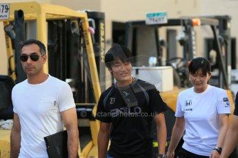 World © Octane Photographic Ltd. Wednesday 26th November 2014. Abu Dhabi Testing - Yas Marina Circuit. McLaren Honda – Honda visitors who arrived with Takuya Izawa - GP3 ART GP driver . Digital Ref: 1175LB1D9094