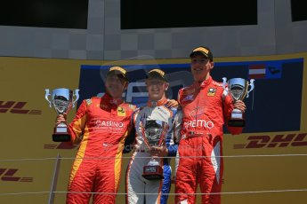 World © Octane Photographic Ltd. Sunday 22nd June 2014. GP2 Race 2 Podium – Red Bull Ring, Spielberg - Austria. Johnny Cecotto - Trident with Stefano Coletti and Raffaele Marciello - Racing Engineering and . Digital Ref : 0999LB1D4418