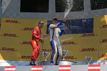 World © Octane Photographic Ltd. Sunday 22nd June 2014. GP2 Race 2 Podium – Red Bull Ring, Spielberg - Austria. Johnny Cecotto - Trident and Stefano Coletti - Racing Engineering and . Digital Ref : 0999LB1D4439