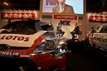 World © Octane Photographic Ltd. Autosport International Show NEC Birmingham, Thursday 9th January 2014. Robert Kubica WRC car. Digital ref: 0878cj7d0080
