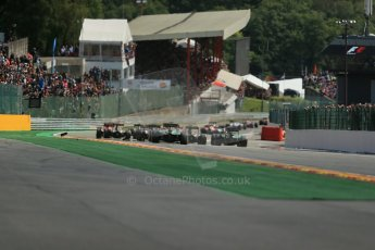 World © Octane Photographic Ltd. Sunday 24th August 2014, Belgian GP, Spa-Francorchamps. - Formula 1 Race. All the F1 grid successful around the 1st corner. Digital Ref: 1090LB1D1735