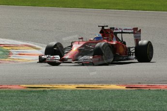 World © Octane Photographic Ltd. Sunday 24th August 2014, Belgian GP, Spa-Francorchamps. - Formula 1 Race. Scuderia Ferrari F14T - Fernando Alonso. Digital Ref: 1090LB1D2070