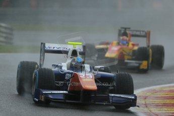 World © Octane Photographic Ltd. Friday Saturday 23rd August 2014. GP2 Race 1 – Belgian GP, Spa-Francorchamps. Johnny Cecotto - Trident and Raffaele Marciello - Racing Engineering. Digital Ref : 1086LB1D0368