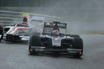 World © Octane Photographic Ltd.  Saturday 23rd August 2014. GP2 Race 1 – Belgian GP, Spa-Francorchamps. Mitch Evans - RT Russian Time and Simon Trummer - Rapax. Digital Ref : 1086LB1D0404