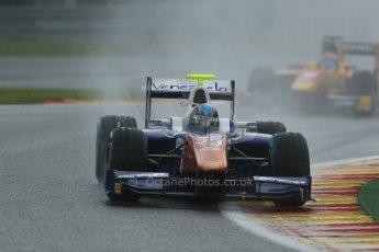 World © Octane Photographic Ltd. Friday Saturday 23rd August 2014. GP2 Race 1 – Belgian GP, Spa-Francorchamps. Johnny Cecotto - Trident and Raffaele Marciello - Racing Engineering. Digital Ref : 1086LB1D0476