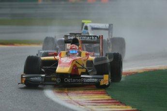 World © Octane Photographic Ltd. Friday Saturday 23rd August 2014. GP2 Race 1 – Belgian GP, Spa-Francorchamps. Raffaele Marciello - Racing Engineering and Johnny Cecotto - Trident. Digital Ref : 1086LB1D0581