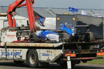 World © Octane Photographic Ltd. Cooper Tyres British Formula 3 (F3). Rockingham - Qualifying, Sunday 4th May 2014. Dallara F308 Mercedes HWA – Camren Kaminsky's Double R Racing car is returned to the pits. Digital Ref : 0920lb1d1909
