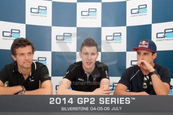 World © Octane Photographic Ltd. Friday 4th July 2014. GP2 Qualifying Press Conference – British GP - Silverstone - UK. Raffaele Marciello - Racing Engineering (1st), Jolyon Palmer – DAMS (2nd) and Mitch Evans - RT Russian Time (3rd). Digital Ref : 1014JM1D1154