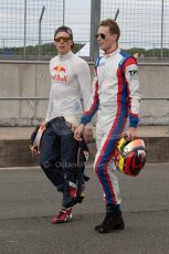World © Octane Photographic Ltd. Thursday 3rd July 2014. GP3 paddock, Silverstone - UK. Alex Lynn and Emil Bernstorff - Carlin. Digital Ref : 1008JM1D1040