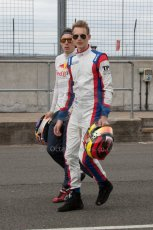 World © Octane Photographic Ltd. Thursday 3rd July 2014. GP3 paddock, Silverstone - UK. Alex Lynn and Emil Bernstorff - Carlin. Digital Ref : 1008JM1D1042
