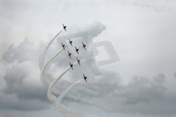 World © Octane Photographic Ltd. Saturday 5th July 2014. British GP, Silverstone, UK. - Formula 1 Paddock. Royal Air Force Red Arrows. Digital Ref: 1025LB1D0307