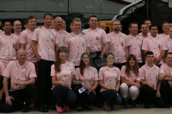 World © Octane Photographic Ltd. Saturday 5th July 2014. British GP, Silverstone, UK. - Formula 1 Paddock. Jenson Button, Kevin Magnussen, Ron Dennis, Eric Boullier and the McLaren team in their #Pinkforpapa shirts. Digital Ref: 1025LB1D0619