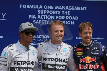 World © Octane Photographic Ltd. Saturday 7th June 2014. Canada - Circuit Gilles Villeneuve, Montreal. Formula 1 Qualifying. Mercedes AMG Petronas F1 W05 Hybrid - Nico Rosberg and Lewis Hamilton and Infiniti Red Bull Racing RB10 - Sebastian Vettel. Digital Ref: 0983LB1D6563