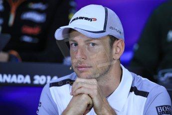 World © Octane Photographic Ltd. Formula 1 Canada – Circuit Gilles Villeneuve, Montreal. Thursday 5th June 2014. Drivers' press conference. McLaren Mercedes - Jenson Button. Digital Ref : 0977LB1D1174