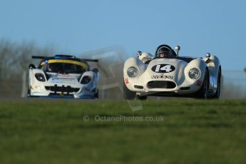 World © Octane Photographic Ltd. Donington Park general unsilenced test day, 13th February 2014. 1958 Lister Knobbly-Chevrolet BHL110 - Roberto Giordanelli. Digital Ref : 0891cb1d3871
