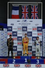 World © Octane Photographic Ltd. FIA European F3 Championship, Silverstone, UK, April 19th 2014 - Race 1 podium. 1st - Jagonya Ayam with Carlin, Tom Blomqvist. 2nd  - Prema Powerteam - Esteban Ocon. 3rd - Carlin - Jordan King. Digital  Digital Ref : 0909lb1d7016