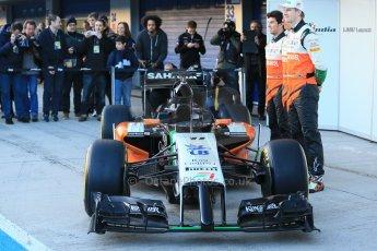 World © Octane Photographic Ltd. 2014 Formula 1 Winter Testing, Circuito de Velocidad, Jerez. Tuesday 27th January 2014. Sahara Force India VJM07 launched by Nico Hulkenburg and Sergio Perez. Digital Ref: 0883lb1d0010