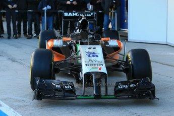 World © Octane Photographic Ltd. 2014 Formula 1 Winter Testing, Circuito de Velocidad, Jerez. Tuesday 27th January 2014. Sahara Force India VJM07 launched by Nico Hulkenburg and Sergio Perez. Digital Ref: 0883lb1d0017