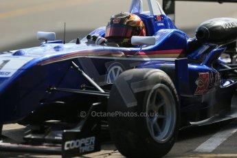 World © Octane Photographic Ltd. Cooper Tyres British Formula 3 Media Day, Castle Donington, Tuesday 8th April 2014. Carlin - Dallara F310 Volkwagen - Peter Li Zhi Cong. Digital Ref : 0903lb1d3750