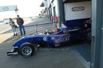 World © Octane Photographic Ltd. Cooper Tyres British Formula 3 (F3). Rockingham - Race, Sunday 4th May 2014. Dallara F310 Volkswagen - Peter Li Zhi Cong - Carlin. Digital Ref : 0903lb1d9715