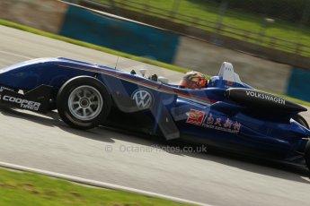 World © Octane Photographic Ltd. Cooper Tyres British Formula 3 Media Day, Castle Donington, Tuesday 8th April 2014. Carlin - Dallara F310 Volkwagen - Peter Li Zhi Cong. Digital Ref : 0903lb1d9889