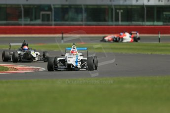 World © Octane Photographic Ltd. BRDC Formula 4 Qualifying, Silverstone, UK, Saturday 16th August 2014. MSV F4-013. Douglas Motorsport. Diego Menchaca and Meridian Racing. Connor Jupp. Digital Ref : 1075LB1D4942