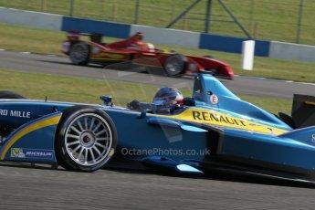 World © Octane Photographic Ltd. FIA Formula E testing – Donington Park 19th August 2014. Spark-Renault SRT_01E. e.dams-Renault – Nicolas Prost and China Racing – Nelson Piquet Jnr. Digital Ref : 1077LB1D5291