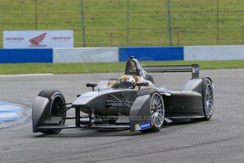 World © Octane Photographic Ltd. FIA Formula E testing – Donington Park 19th August 2014. Spark-Renault SRT_01E. Dragon Racing – Oriol Servia in an unpainted car. Digital Ref :