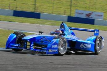World © Octane Photographic Ltd. FIA Formula E testing – Donington Park 19th August 2014. Spark-Renault SRT_01E. Amlin Aguri – Takuma Sato. Digital Ref : 1077LB1D5926