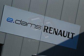 World © Octane Photographic Ltd. FIA Formula E testing Donington Park 10th July 2014. e-DAMS Renault logo. Digital Ref : 1032CB1D3291