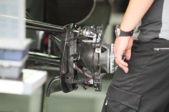 World © Octane Photographic Ltd. Sunday 20th July 2014. German GP, Hockenheim. - Formula 1 Pitlane. Mercedes AMG Petronas F1 W05 Hybrid front brake (no disc) – Lewis Hamilton. Digital Ref: