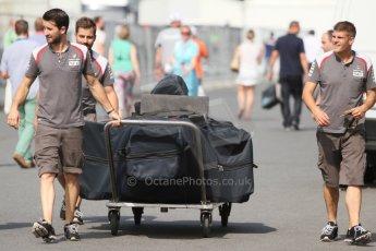 World © Octane Photographic Ltd. Saturday 19th July 2014. German GP, Hockenheim. - Formula 1 Qualifying. Sauber C33 spare chassis being delivered after qualifying. Digital Ref: