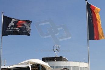 World © Octane Photographic Ltd. Saturday 19th July 2014. F1 and German flags with Mercedes badge. Digital Ref: