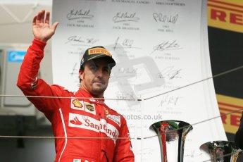 World © Octane Photographic Ltd. Sunday 27th July 2014. Hungarian GP, Hungaroring - Budapest. Podium. Scuderia Ferrari F14T - Fernando Alonso. Digital Ref: 1074LB1D4349