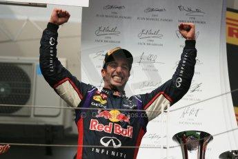 World © Octane Photographic Ltd. Sunday 27th July 2014. Hungarian GP, Hungaroring - Budapest. Podium. Infiniti Red Bull Racing RB10 – Daniel Ricciardo. Digital Ref: 1074LB1D4361
