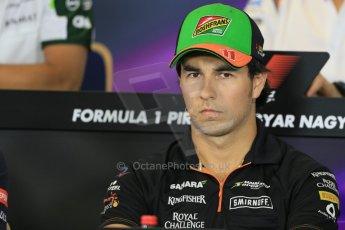 World © Octane Photographic Ltd. Thursday 24th July 2014. Hungarian GP, Hungaroring - Budapest - Formula 1 FIA Press Conference. Sahara Force India VJM07 – Sergio Perez. Digital Ref: 1054LB1D8972