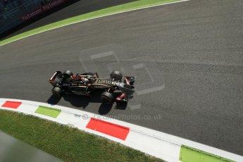 World © Octane Photographic Ltd. Saturday 6th September 2014, Italian GP, Monza - Italy. - Formula 1 Practice 3. Lotus F1 Team E22 - Romain Grosjean. Digital Ref: 1100LB1D5352