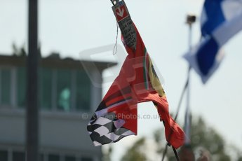 "World © Octane Photographic Ltd. Sunday 7th September 2014, Italian GP, Monza - Italy. - Formula 1 Podium. Ferrari Flag -""Please Sign The Flag - I love you all"". Digital Ref: 1113LB1D8502"