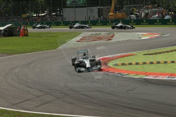 World © Octane Photographic Ltd. Sunday 7th September 2014, Italian GP, Monza - Italy. - Formula 1 Race. Mercedes AMG Petronas F1 W05 Hybrid - Nico Rosberg ahead of Magnussen (McLaren), Massa (Williams) and Hamilton (Mercedes). Digital Ref: 1112LB1D8000