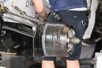 World © Octane Photographic Ltd. Friday 5th September 2014, Italian GP, Monza - Italy  - Formula 1 Practice 1. Williams Martini Racing FW36 front brake. Digital Ref: 1096CB7D8839