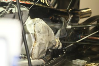 World © Octane Photographic Ltd. Friday 5th September 2014, Italian GP, Monza - Italy - Formula 1 Practice 1. Lotus F1 Team E22 exhaust cladding. Digital Ref: 1096CB7D8878