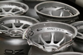 World © Octane Photographic Ltd. Friday Friday 5th September 2014. GP2 Practice – Italian GP - Monza, Italy. Damaged OZ Racing wheels. Digital Ref : 1095CB7D8792
