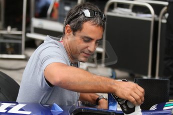 World © Octane Photographic Ltd. Friday Friday 5th September 2014. GP2 Practice – Italian GP - Monza, Italy. Juan-Pablo Montoya with Julian Leal - Carlin. Digital Ref : 1095CB7D9017