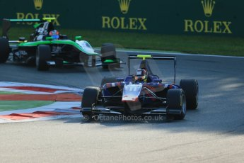 World © Octane Photographic Ltd. Saturday 6th September 2014. GP3 Race 1, Italian GP, Monza - Italy. Emil Bernstorff - Carlin and Richie Stanaway - Status Grand Prix. Digital Ref : 1108LB1D6387