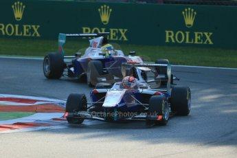 World © Octane Photographic Ltd. Saturday 6th September 2014. GP3 Race 1, Italian GP, Monza - Italy. Kevin Ceccon and Pal Varhaug - Jenzer Motorsport. Digital Ref : 1108LB1D6432