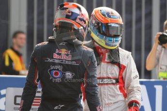 World © Octane Photographic Ltd. Sunday 7th September 2014. GP3 Race 2, Italian GP, Monza - Italy. Dean Stoneman - Marussia Manor Racing congratulated by Alex Lynn - Carlin. Digital Ref : 1110CB7D0684