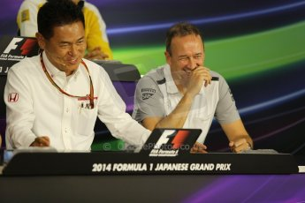 World © Octane Photographic Ltd. Friday 3rd October 2014, Japanese Grand Prix - Suzuka. Formula 1 Drivers' Press conference. Honda Head of Motorsport - Yasuhisa Arai and McLaren Mercedes Chief Operating Officer (COO) – Jonathan Neale. Digital Ref: