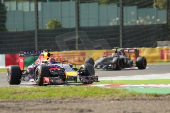 World © Octane Photographic Ltd. Friday 3rd October 2014, Japanese Grand Prix - Suzuka. Formula 1 Practice 2. Infiniti Red Bull Racing RB10 - Sebastian Vettel and Sauber C33 – Esteban Gutierrez. Digital Ref: