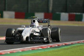 World © Octane Photographic Ltd. Friday 3rd October 2014, Japanese Grand Prix - Suzuka. - Formula 1 Practice 2. Williams Martini Racing FW36 – Valtteri Bottas. Digital Ref: